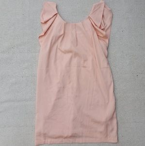 F21 Peach Pleated Ruffle Sleeve Mini Dress